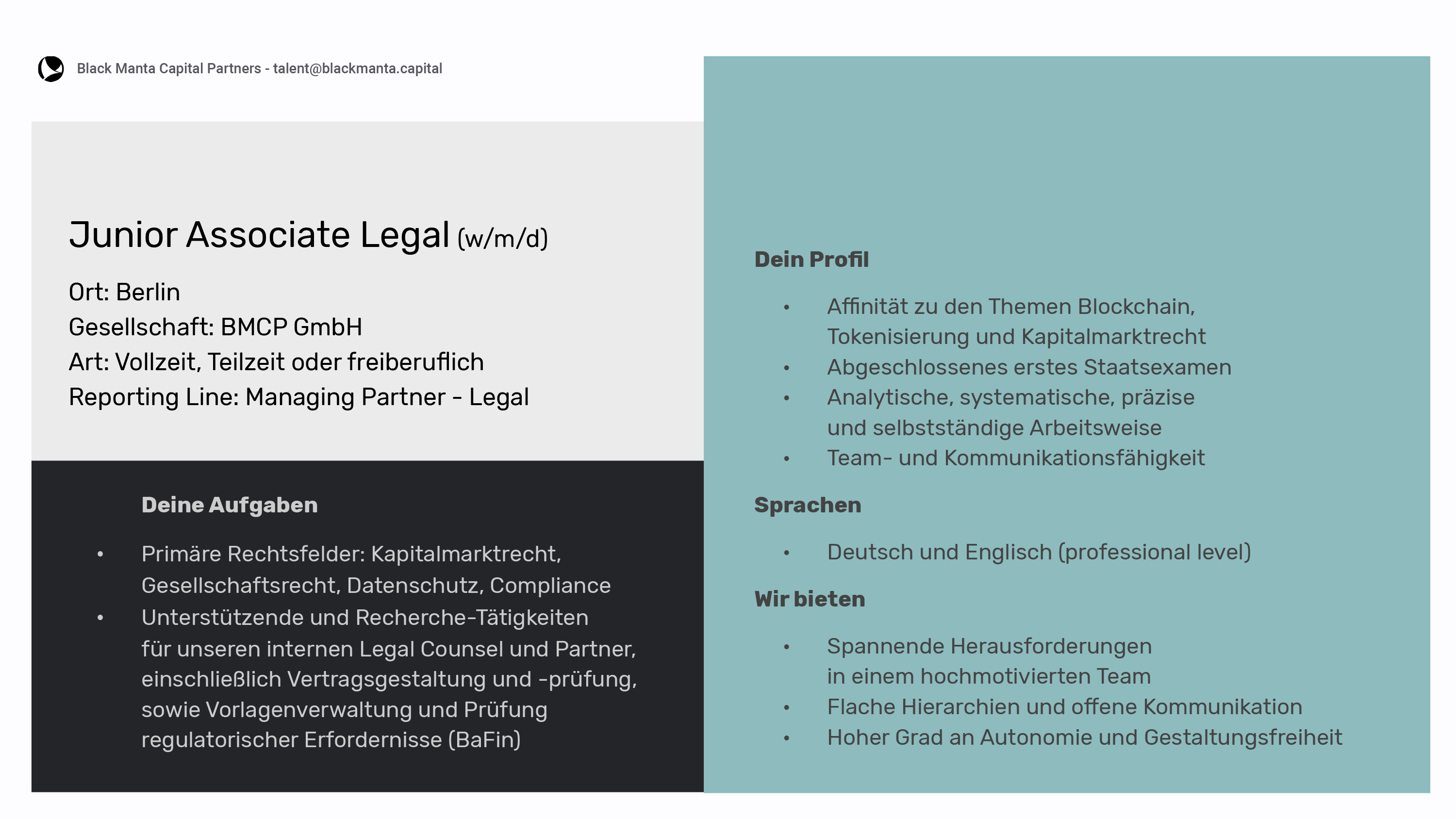 BER Junior Associate Legal Germany