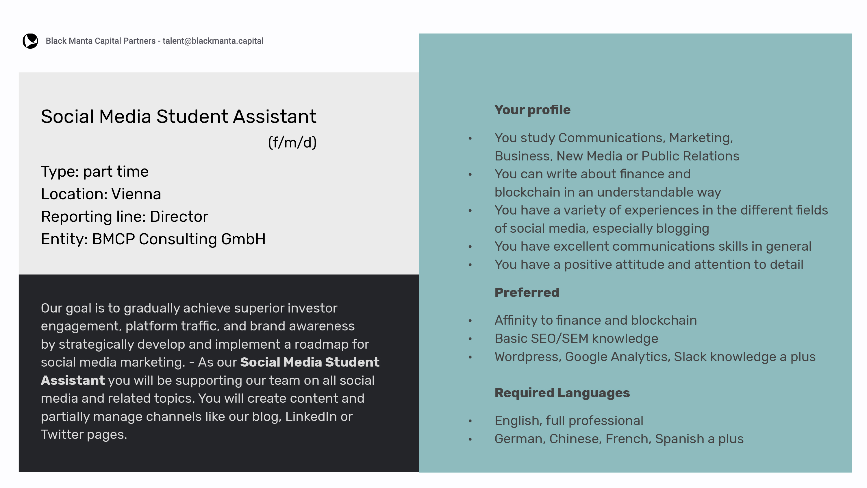 VIE Social Media Student Assistant